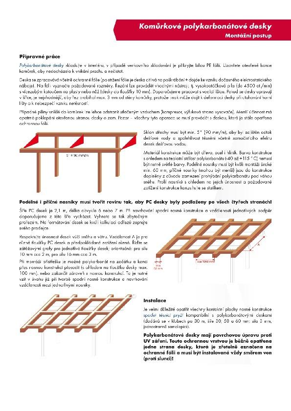 Montážní návod komůrkové polykarbonátové desky