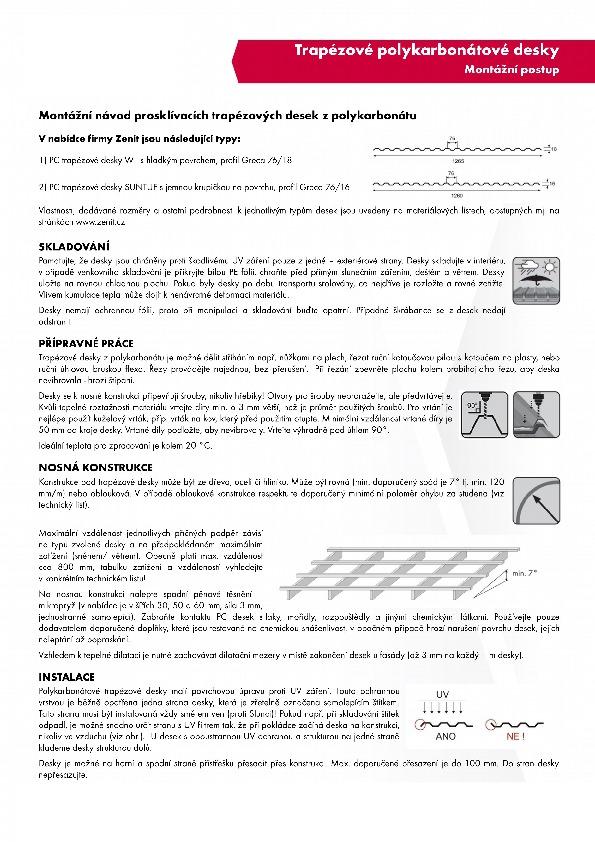 Montážní návod trapézové polykarbonátové desky