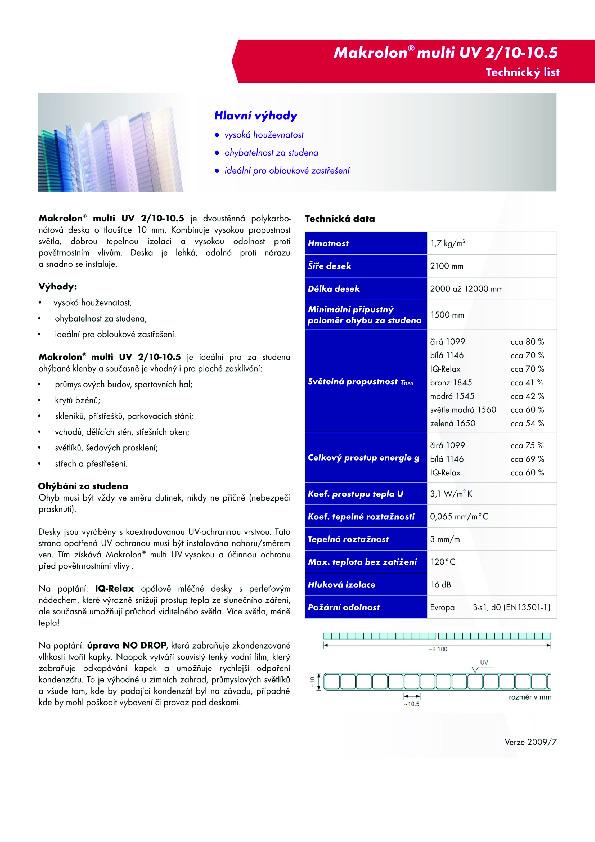 Technický list - Makrolon 2-10
