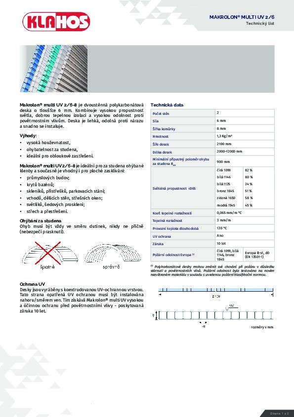 Technický list - Makrolon 2-6-8