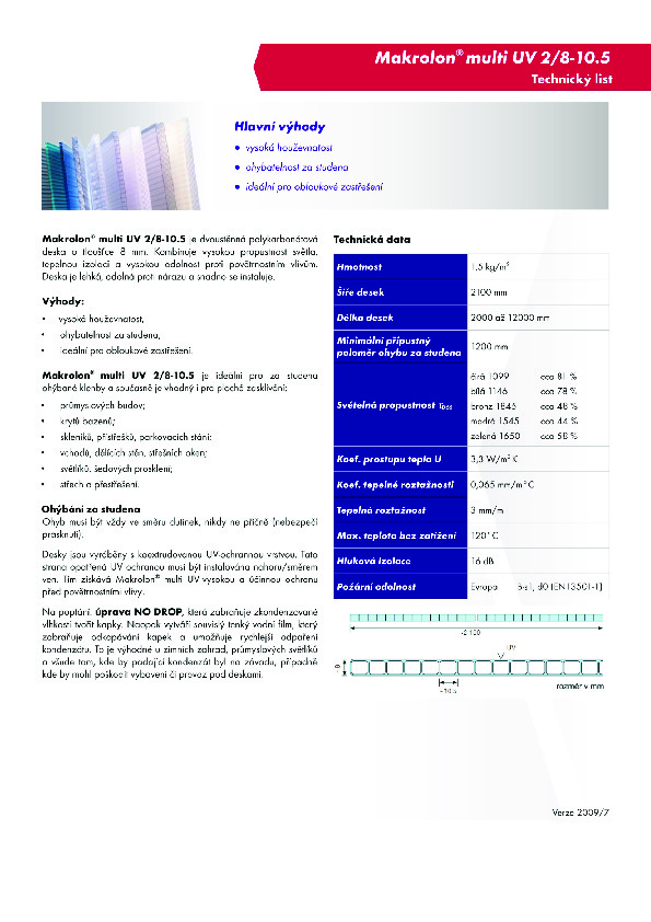 Technický list- Makrolon 2-8-10,5