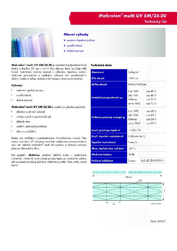 Technický list- Makrolon 5M-25-20