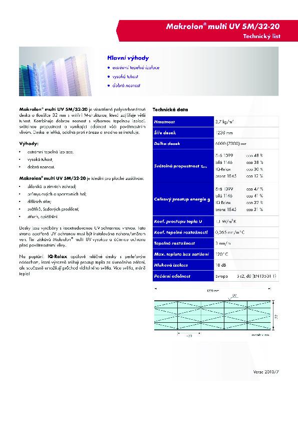 Technický list- Makrolon 5M-32-20